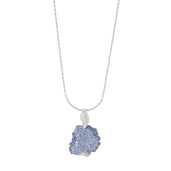 Picture of Blue Cloud - Silver Tone Necklace with Natural Stone and Swarovski Crystal