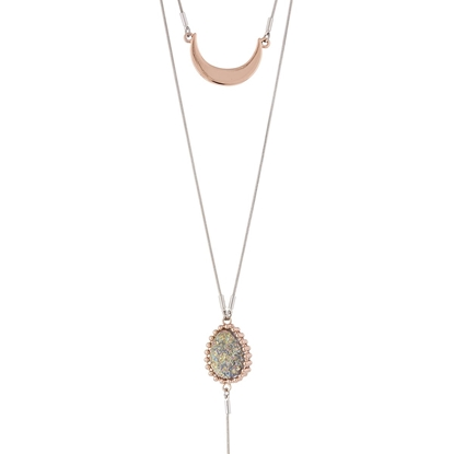 Picture of Cosmic Love – Enhanced Natural Stone Necklace with Rose Gold and Silver Tone Station Chain